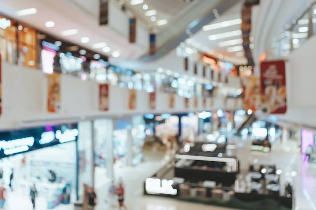 現代のショッピングセンターの抽象的なぼやけた背景