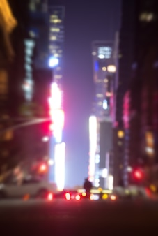 Abstract blurred city background. large city street lights at night. lights and shadows of new york city