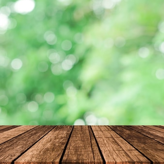 Abstract blurred green nature with plank table for show, promote, ad product on image concept