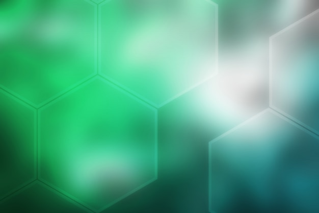 Abstract blurred hexagon texture background green blue gradient