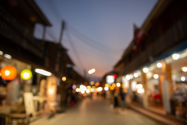 Abstract blurred night market background.