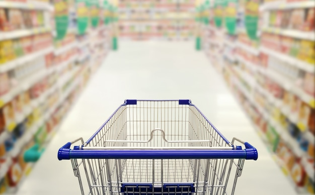 Abstract blurred photo of  supermarket with empty shopping cart shopping concept.