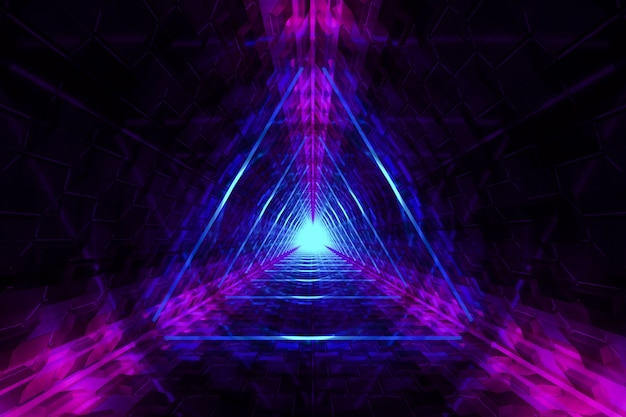 Abstract blurry background with neon triangles lights