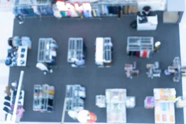 Abstract blurry wall of supermarket, concept of buy and sell at the superstroe, modern supermarket