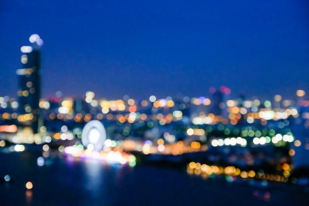 Abstract bokeh cityscape bangkok seaside night light background