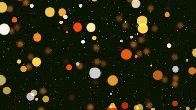 떨어지는 추상 bokeh 입자입니다. 새해 복 많이 받으세요, 메리 크리스마스, 생일 축하합니다 빛나는 배경. 겨울 휴가를 위한 고급스럽고 우아한 동적 스타일 3d 그림