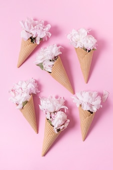Abstract bouquet of flowers as ice cream top view