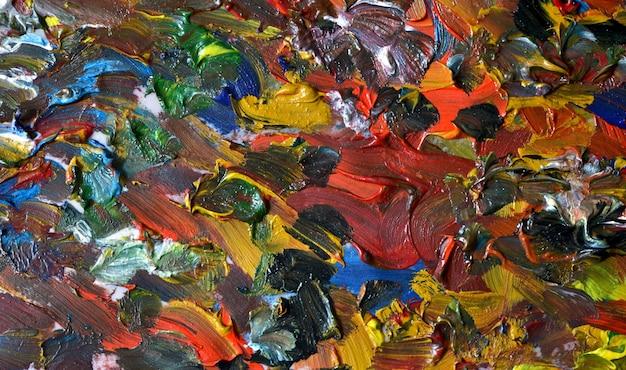 油絵の具カラフルな塗抹標本マクロと抽象的な明るい背景