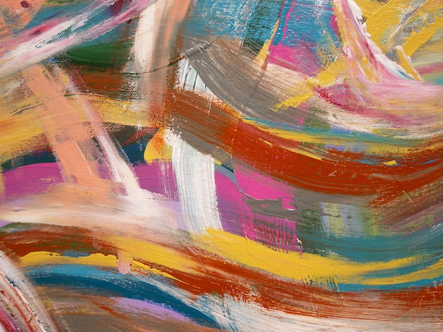 Abstract  bright colors artistic splashes,  brush texture, fragment of acrylic painting on canvas.