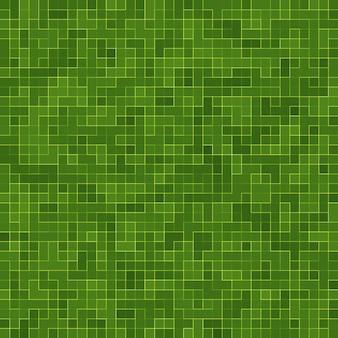 Абстрактный ярко-зеленый квадратный пиксель мозаика стены фон и текстура.