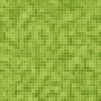 Abstract bright green square pixel tile mosaic wall background and texture.