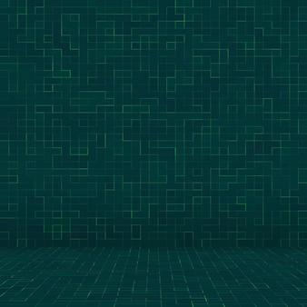 抽象的な明るい緑の正方形のピクセルタイルモザイク壁