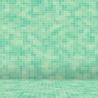 추상 밝은 녹색 정사각형 픽셀 타일 모자이크 벽