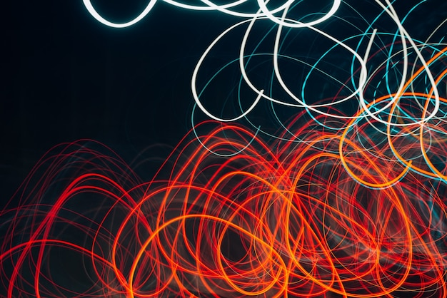 Abstract bright lights, traffic movement, defocus of the night city. long exposure image
