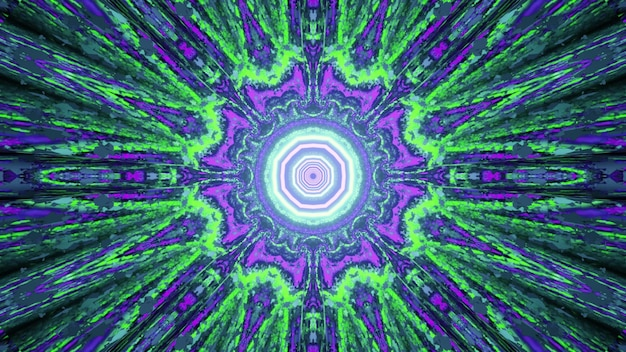Abstract bright neon illumination forming fractal kaleidoscope pattern with symmetric rays as in 3d illustration