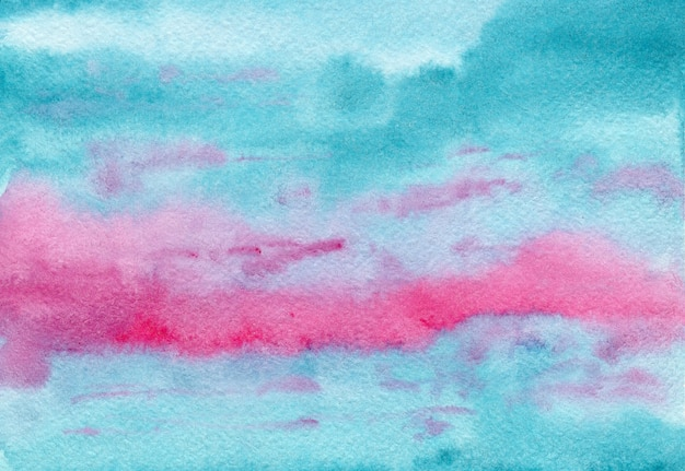 Abstract bright painting pink and turquoise blue cloudscape wet watercolor background, wash technique