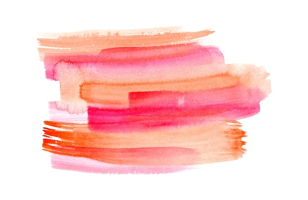 Abstract bright pink red and orange watercolor expressive vibrant brush strokes background
