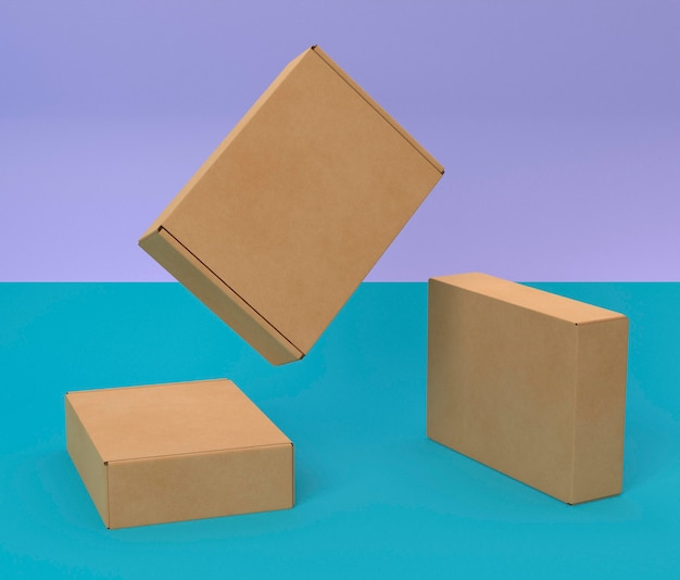 Abstract brown empty simplistic cardboard boxes