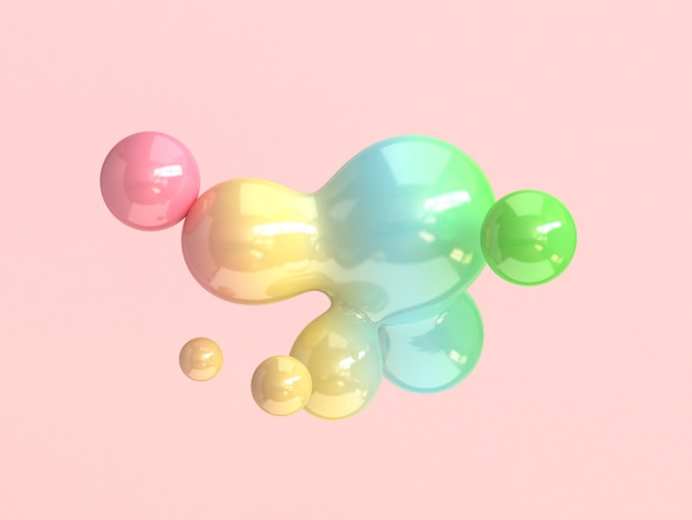 Abstract bubble shape colorful 3d rendering