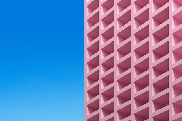 Abstract building on blue background