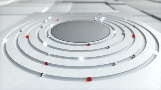 Abstract business background. different spheres move in a circle in the center. technological concept. 3d illustration