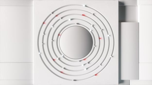 抽象的なビジネスの背景。さまざまな球が中央で円を描いて移動します。技術的概念。 3dイラスト
