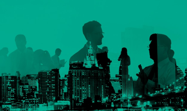 Abstract business people and city buildings