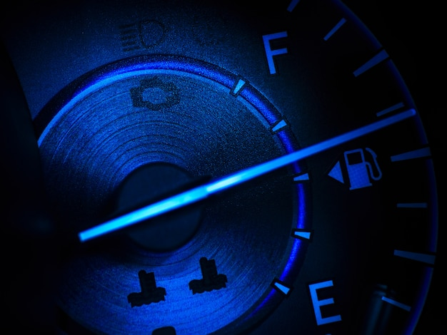 Abstract car speedometer in blue tone