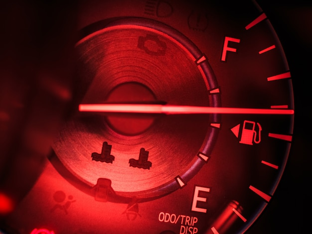 Abstract car speedometer in red tone