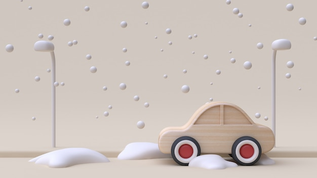Abstract car wood toy cartoon style winter snow 3d render
