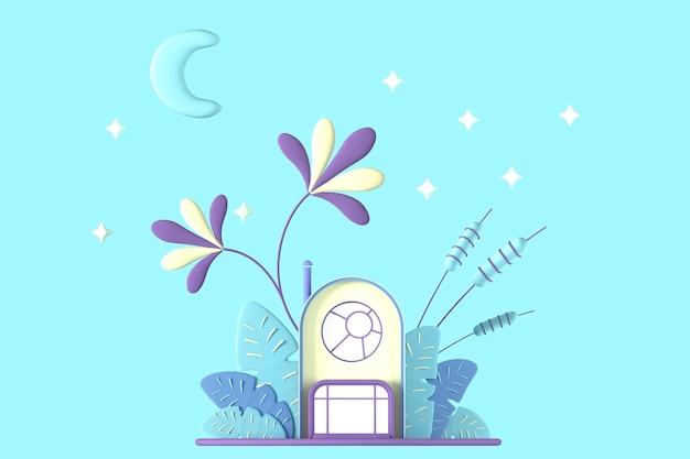 별이 빛나는 푸른 하늘과 moon.3d 그림에 대한 식물의 회색 배경에 파스텔 색상의 추상 만화 개념 작은 집