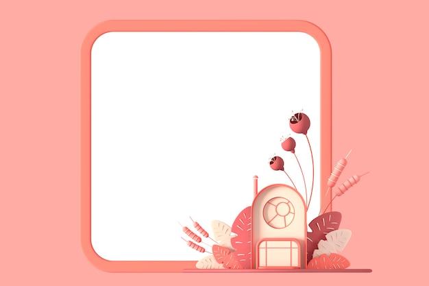 추상적 인 만화 동화 같은 작은 아늑한 집은 파스텔 가을 색으로 환상적인 양식 식물, 나무, 풀의 배경에 사각형 프레임 사본이 있는 공간이 격리되어 있습니다. 3d 그림