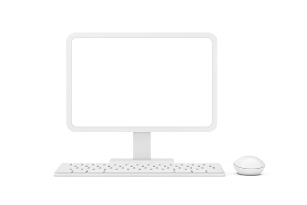 Abstract cartoon white desktop computer with mouse, keyboard and blank screen for your design in clay style on a white background. 3d rendering