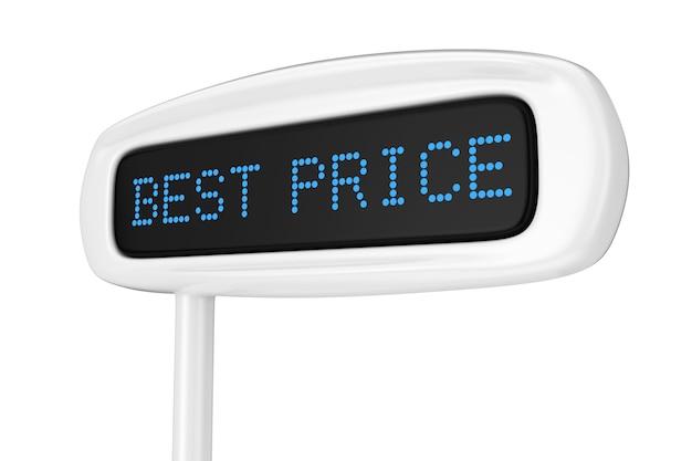 흰색 배경 3d 렌더링에 최고의 가격 파란색 기호를 표시하는 추상 금전 등록기 표시