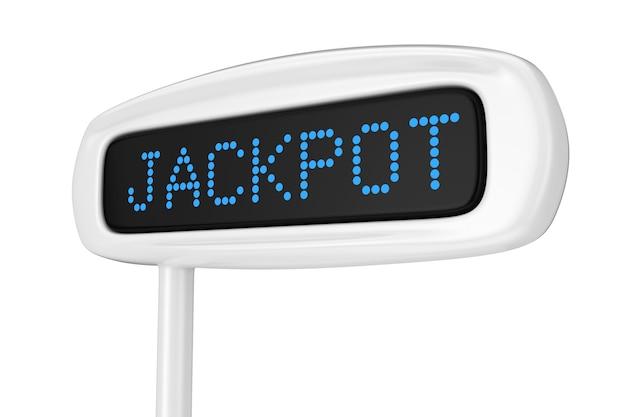 흰색 배경 3d 렌더링에 잭팟 파란색 기호를 표시하는 추상 금전 등록기 표시
