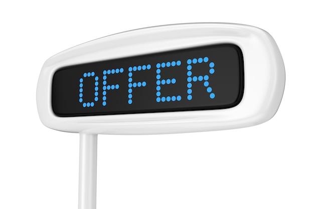 흰색 배경 3d 렌더링에 제안 파란색 기호를 표시하는 추상 금전 등록기 표시