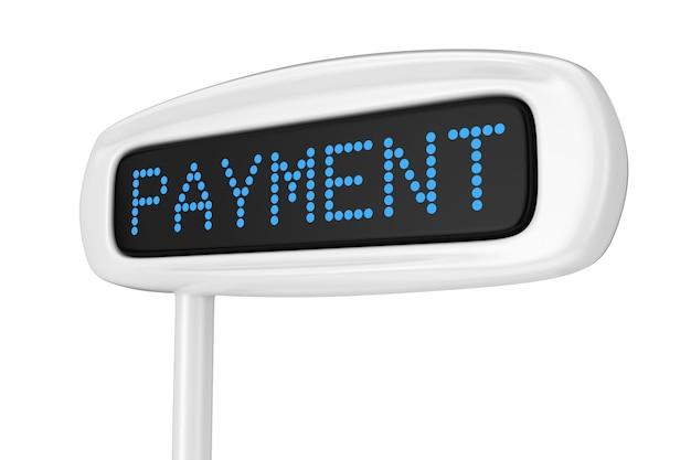 흰색 배경 3d 렌더링에 지불 파란색 기호를 표시하는 추상 금전 등록기 표시