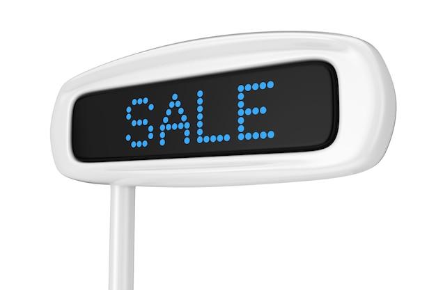 흰색 배경 3d 렌더링에 판매 파란색 기호를 표시하는 추상 금전 등록기 표시