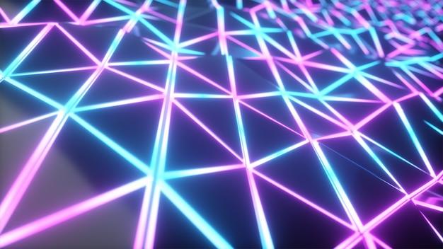 抽象的なcg多角形ネオンブルー表面
