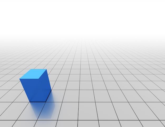Абстрактный клетчатый фон с синим кубом