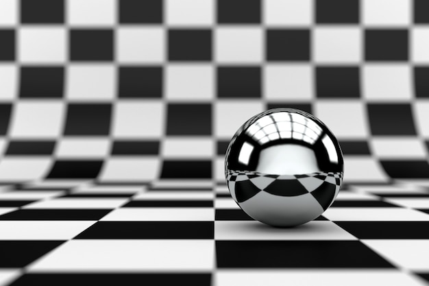 Abstract checkered background with metal sphere ball. 3d rendering.