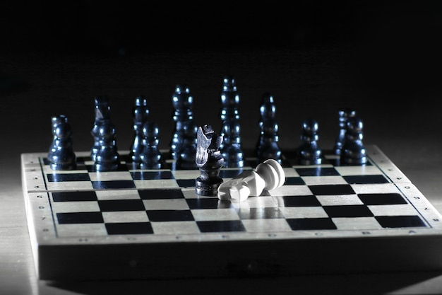 Abstract chess composition on the game board.the concept of defeat.