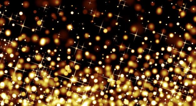 검은 배경에 황금 별 보케의 밝은 반짝이와 추상 크리스마스 배경