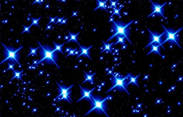 검정색 배경에 파란색 별의 밝은 반짝임이 있는 추상 크리스마스 배경