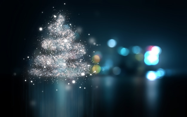 Abstract christmas background with bokeh lights
