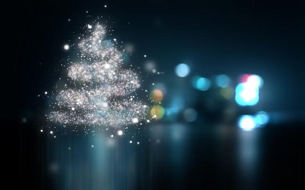 ボケ味のライトと抽象的なクリスマスの背景