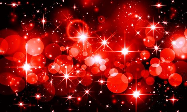 검정색 배경에 빨간색 보케 별의 밝은 반짝이가 있는 추상 크리스마스 배경