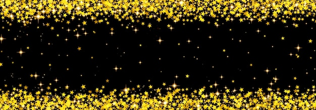 金の星で作られた落下紙吹雪、金で作られた光沢のある星と抽象的なクリスマスの背景