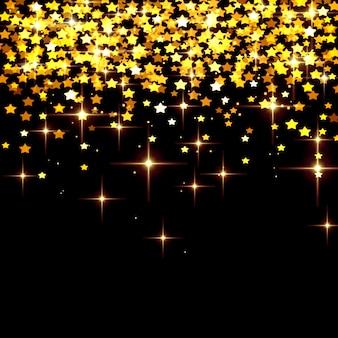 블랙에 노란색 별의 떨어지는 황금 색종이와 추상 크리스마스 배경