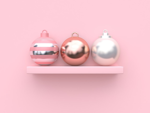 Abstract christmas balls on pink background